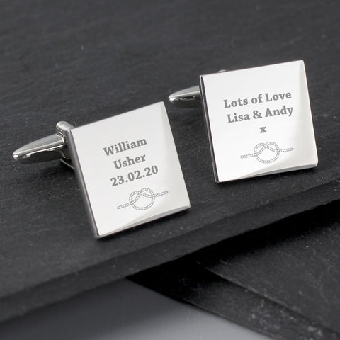 Buy Personalised Tie the Knot Square Cufflinks