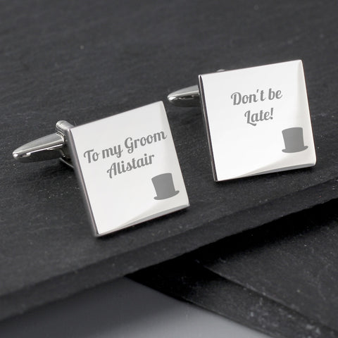Buy Personalised Top Hat Wedding Square Cufflinks