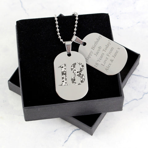 Buy Personalised Camouflage Age Stainless Steel Double Dog Tag Necklace
