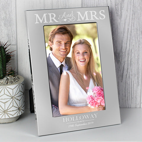 Buy Personalised Silver Mr & Mrs 6x4 Photo Frame