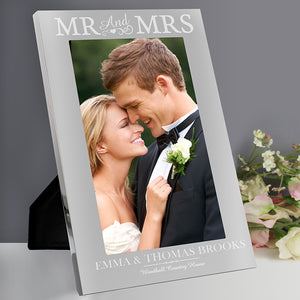 Personalised Silver Mr & Mrs 5x7 Photo Frame