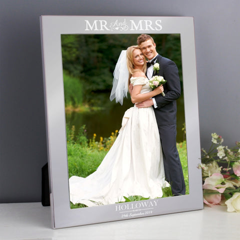 Buy Personalised Silver Mr & Mrs 10x8 Photo Frame