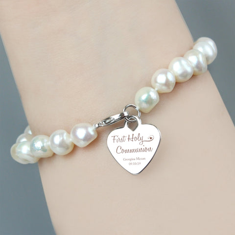 Buy Personalised First Holy Communion Swirls & Hearts White Freshwater Pearl Bracelet
