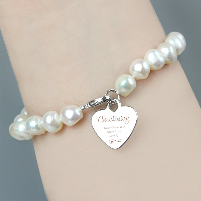 Personalised Christening Swirls & Hearts White Freshwater Pearl Bracelet