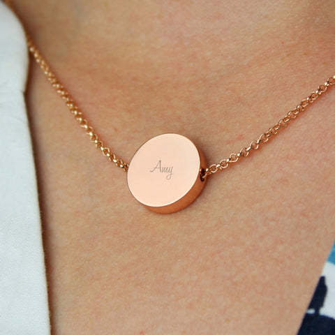 Buy Personalised Any Name Rose Gold Tone Disc Necklace