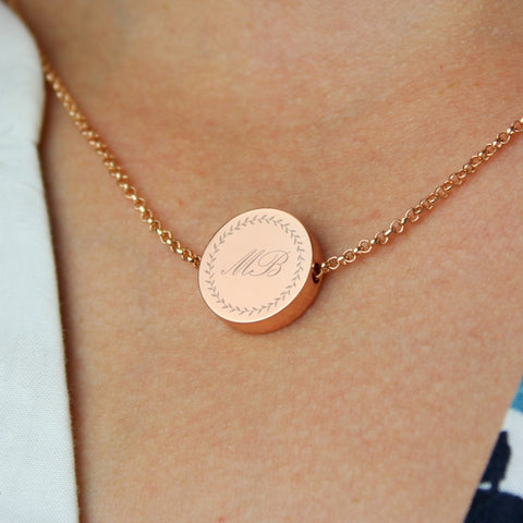 Buy Personalised Wreath Initials Rose Gold Tone Disc Necklace