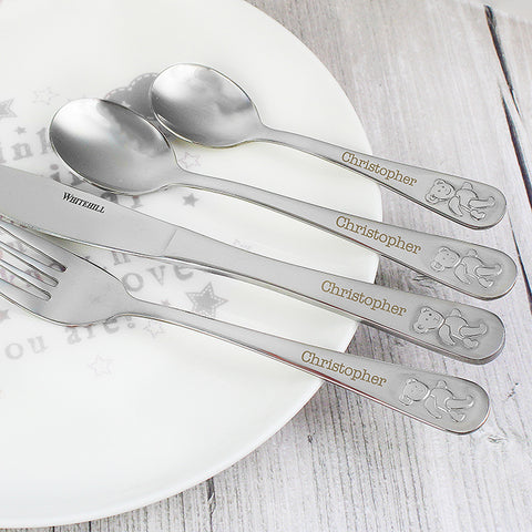 Buy Personalised Teddy 4 Piece Embossed Cutlery Set