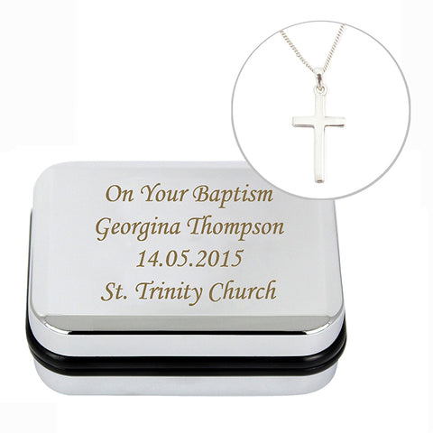 Buy Personalised Box with Silver Cross Necklace