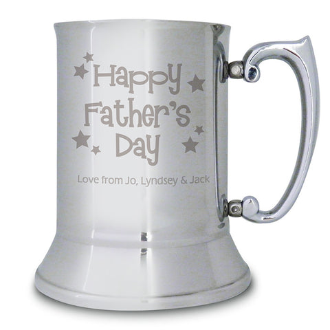 Personalised Happy Fathers Day Stars Stainless Steel Tankard - Shane Todd Gifts UK