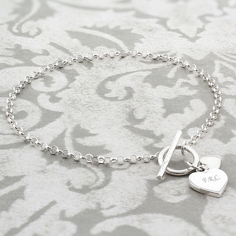 Personalised Hearts T-Bar Bracelet