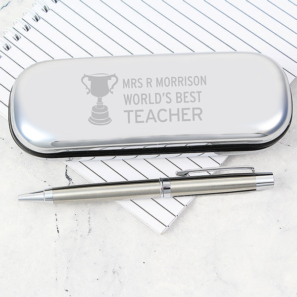 Personalised Teacher Trophy Pen and Box Set