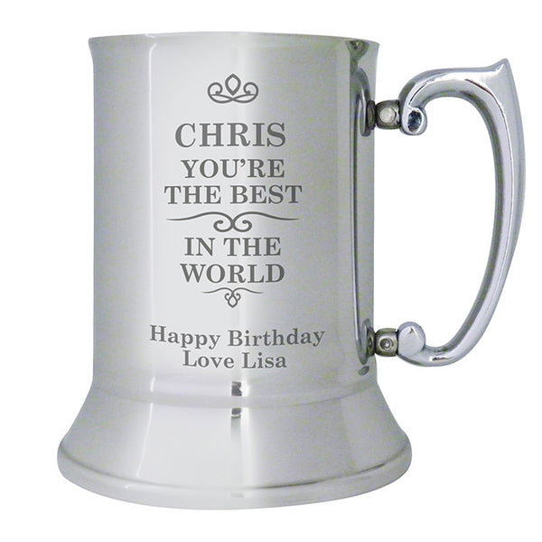 Buy Personalised Best in the World Stainless Steel Tankard