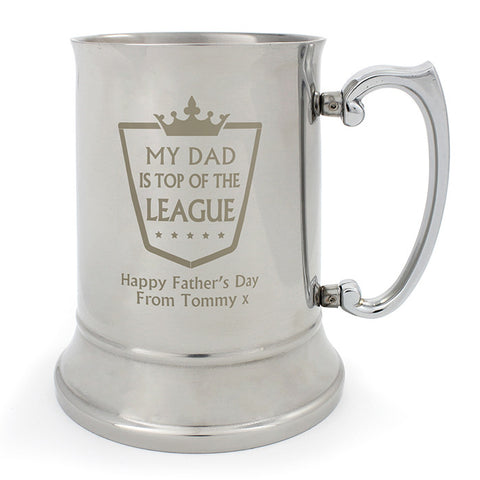 Buy Personalised Top of the League Stainless Steel Tankard