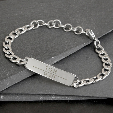 Buy Personalised Classic Stainless Steel Unisex Bracelet