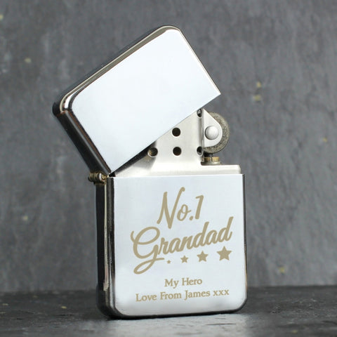 Personalised 'No.1 Grandad' Silver Lighter - Shane Todd Gifts UK