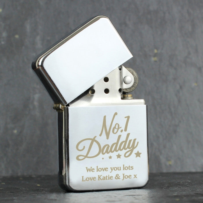 Personalised No.1 Daddy Silver Lighter, Hardware by Low Cost Gifts