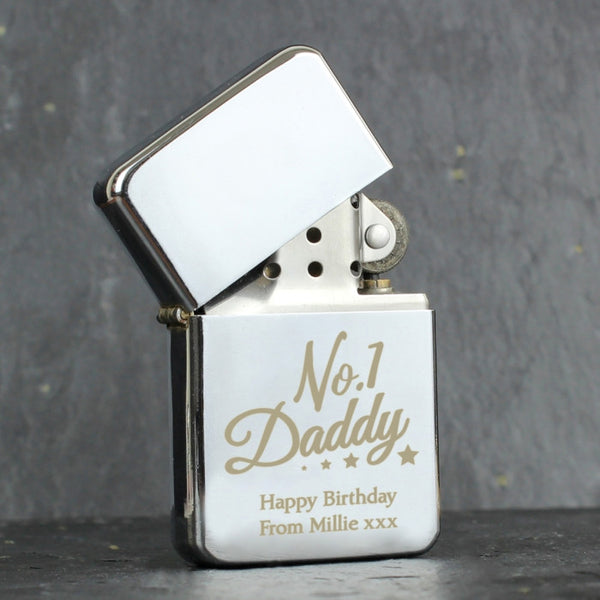 personalised-no-1-daddy-silver-lighter
