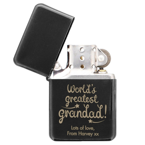 Personalised 'World's Greatest Grandad' Black Lighter | ShaneToddGifts.co.uk