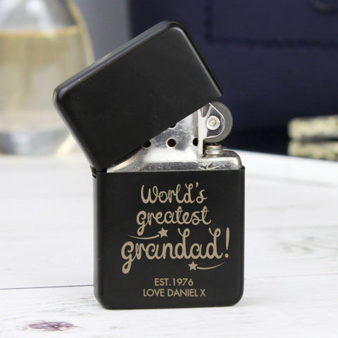 Personalised 'World's Greatest Grandad' Black Lighter - Shane Todd Gifts UK