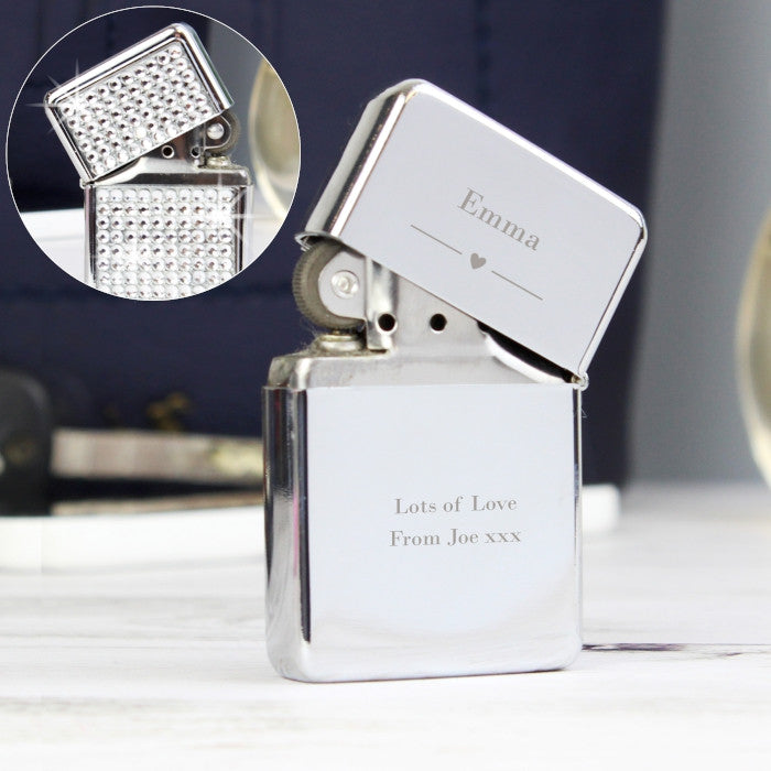 Personalised Decorative Heart Diamante Lighter