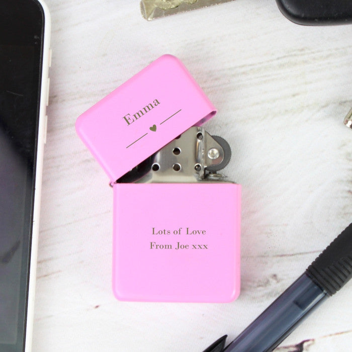 Buy Personalised Decorative Heart Pink Lighter