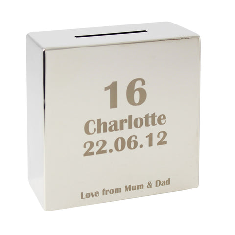 Personalised Age Square Money Box | ShaneToddGifts.co.uk