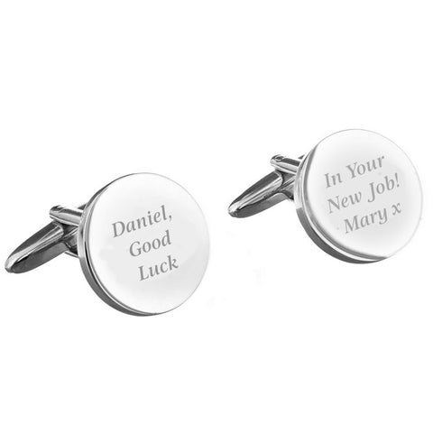 Personalised Any Message Round Cufflinks - Shane Todd Gifts UK
