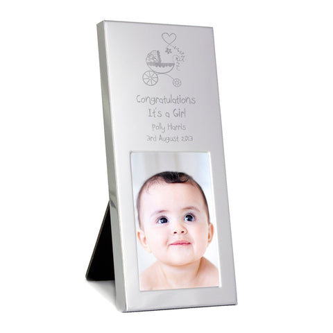 Buy Personalised Pram Small Silver 2x3 Photo Frame
