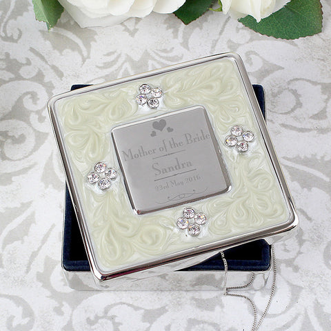 Personalised Decorative Wedding Mother of the Bride Square Diamante Trinket Box - Shane Todd Gifts UK
