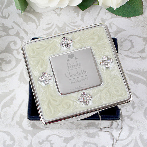 Personalised Decorative Wedding Bride Square Diamante Trinket Box - Shane Todd Gifts UK