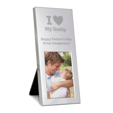 Buy Personalised I Heart Small Silver 2x3 Photo Frame