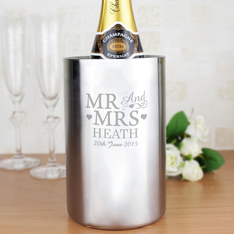 Buy Personalised Mr & Mrs Wine Cooler