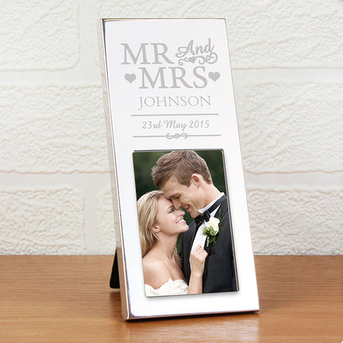 Personalised Small Silver Mr & Mrs 2x3 Photo Frame | ShaneToddGifts.co.uk