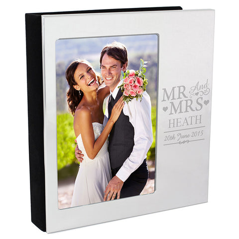 Personalised Mr & Mrs Photo Frame Album 4x6 With Silver Finish