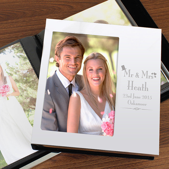 Personalised Decorative Wedding Photo Frame Album 4x6 With Silver Finish