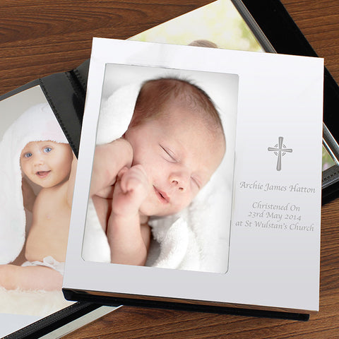 Personalised Cross Photo Frame Album 4x6 With Silver Finish | ShaneToddGifts.co.uk