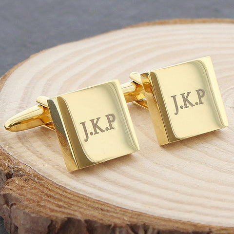 Buy Personalised Gold Plated Square Cufflinks