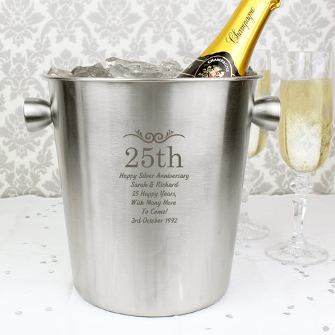 Personalised Number Frame Stainless Steel Ice Bucket | ShaneToddGifts.co.uk