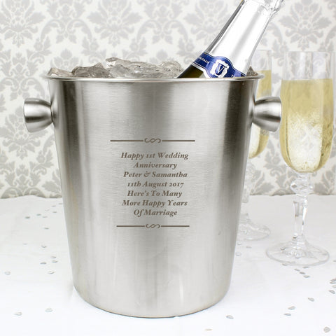 Personalised Any Message Stainless Steel Ice Bucket | ShaneToddGifts.co.uk