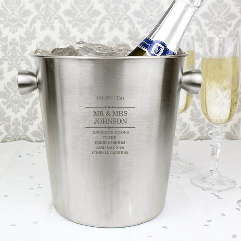 Personalised Diamond Stainless Steel Ice Bucket | ShaneToddGifts.co.uk