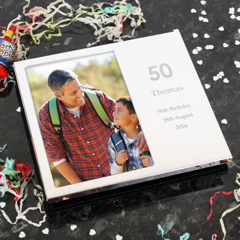 Personalised Silver Finish Big Numbers Frame Album 4x6