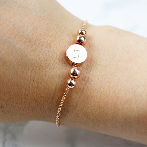 Personalised Rose Gold Plated Initials Disk Bracelet | ShaneToddGifts.co.uk
