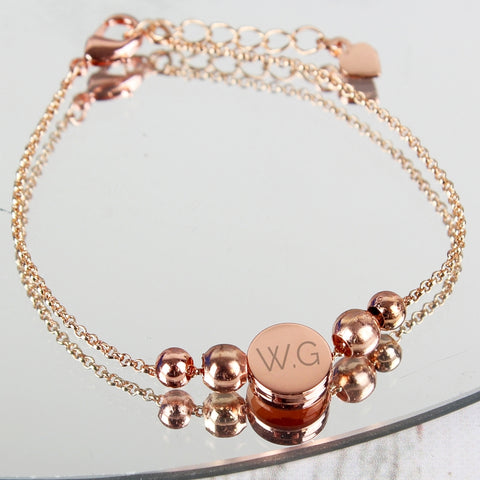 Buy Personalised Rose Gold Plated Initials Disk Bracelet