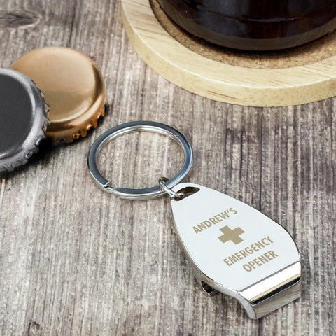 Personalised Emergency Keyring Bottle Opener - Shane Todd Gifts UK