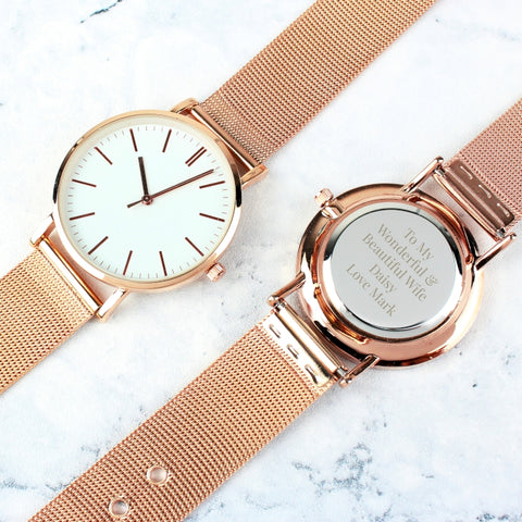 Personalised Lady's Rose Gold Tone Watch with Presentation Box