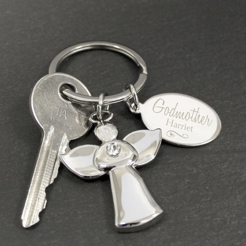 Personalised Silver Plated Godmother Angel Keyring | ShaneToddGifts.co.uk