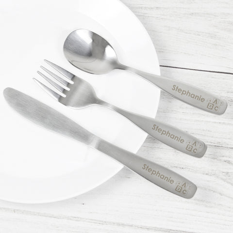 Buy Personalised 3 Piece ABC Cutlery Set
