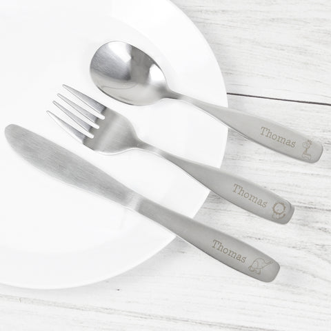 Buy Personalised 3 Piece Hessian Friends Cutlery Set