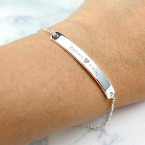 Buy Personalised Silver Tone Heart ID Bracelet