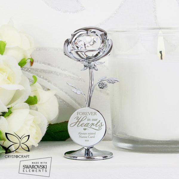 Personalised Forever in Our Hearts Crystocraft Rose Ornament